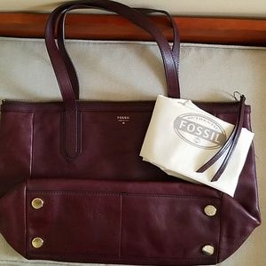 FOSSIL *Rich, Delish Raisin* Leather Sydney Tote